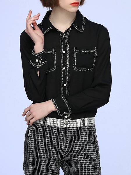 Pockets Long Sleeve H-line Blouse