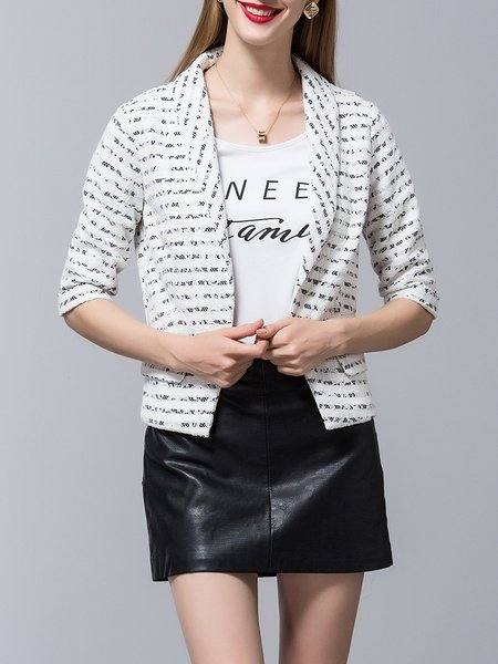 White Simple H-line Stripes Lace Blazer