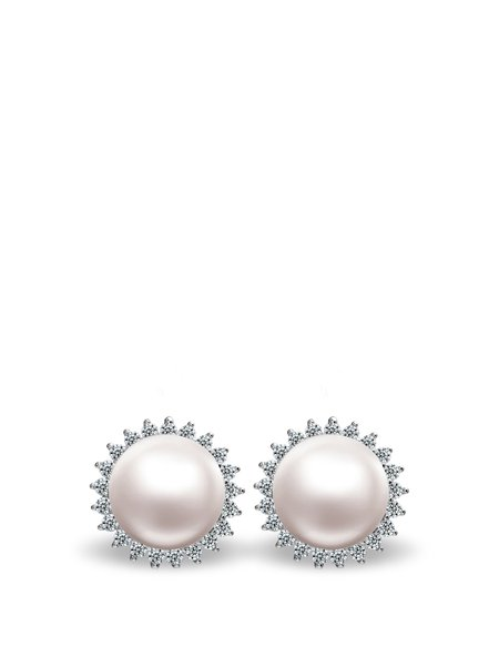 White Silver-Color Round Pearl Earrings