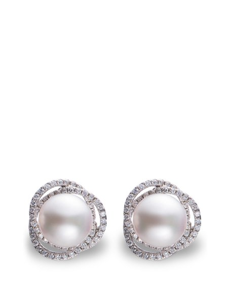 White Silver-Color Round Pierced Pearl Earrings