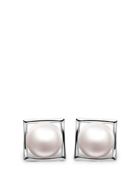 White Pearl Silver-Color Square Earrings