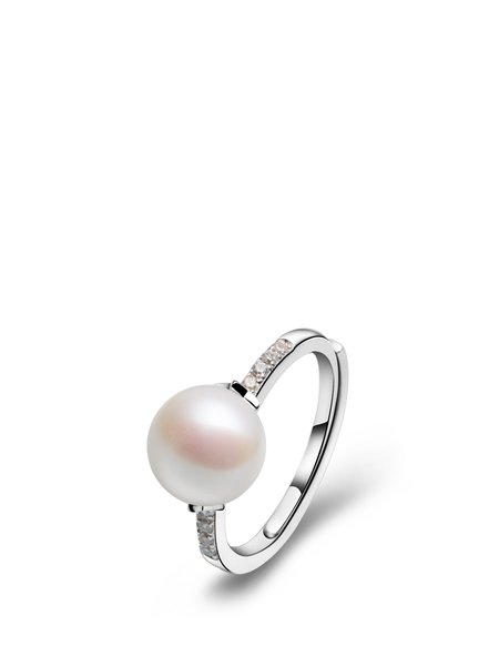 White Pearl 925 Sterling Silver Round Adjustable Ring