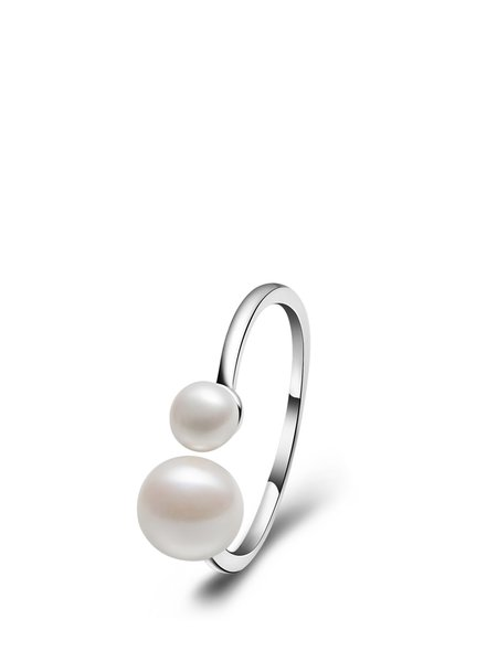White 925 Sterling Silver Pearl Adjustable Round Ring