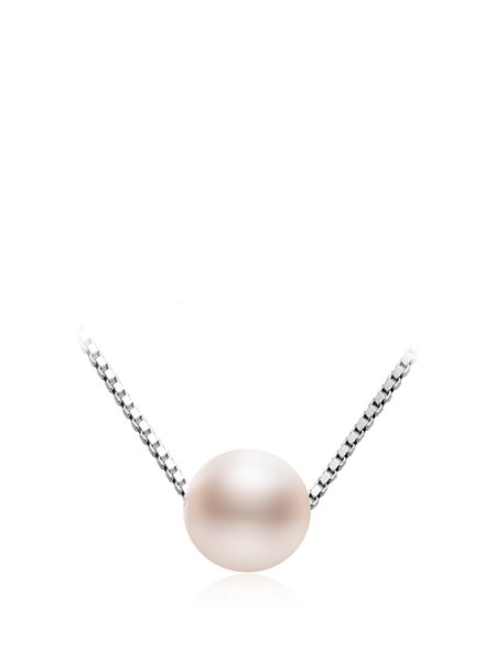 White Round Pearl 925 Sterling Silver Necklace