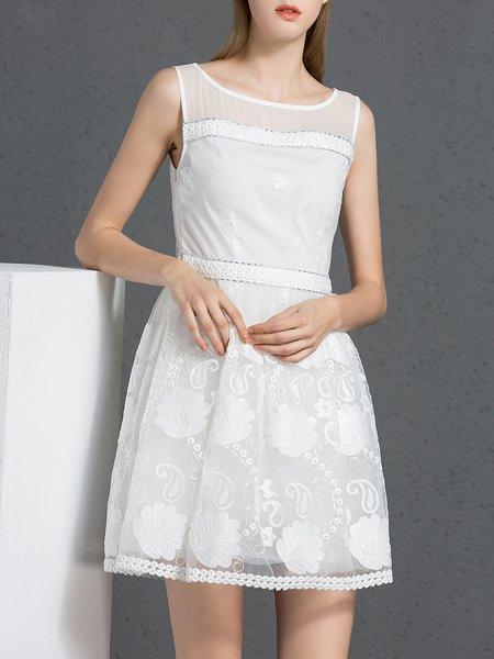 White Paneled Casual Skater Mini Dress