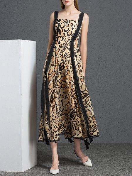 Leopard Print Casual Printed Swing Maxi Dress