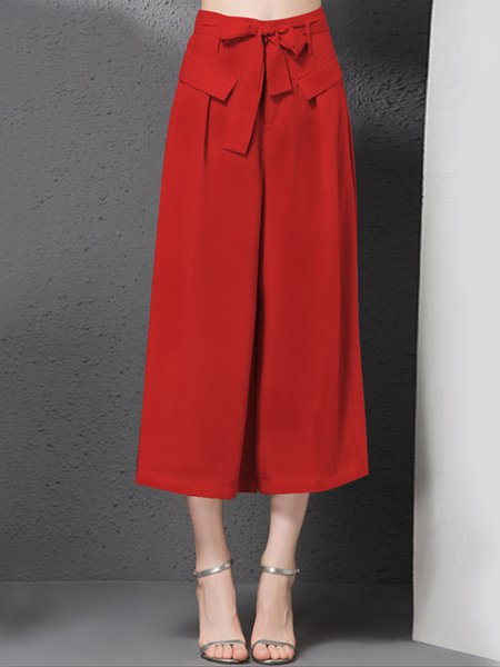 Solid H-line Bow Casual Wide Leg Pants