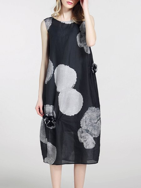 Black Abstract Silk Casual Midi Dress