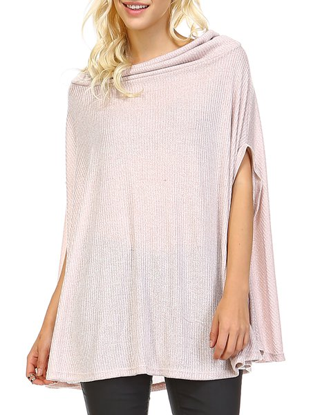 Pink H-line Knitted Cowl Neck Short Sleeve Poncho And Cape