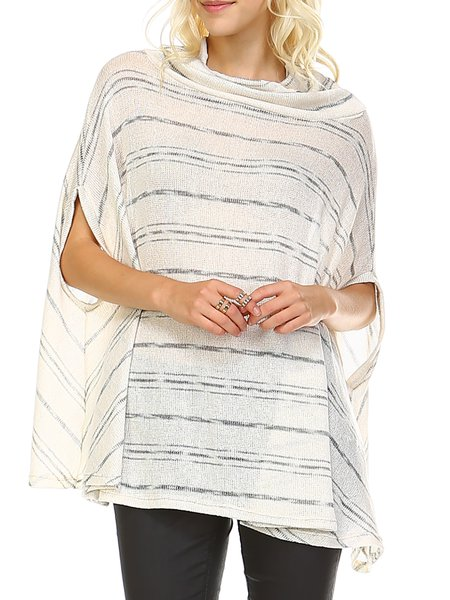 Statement Knitted Short Sleeve Poncho And Cape