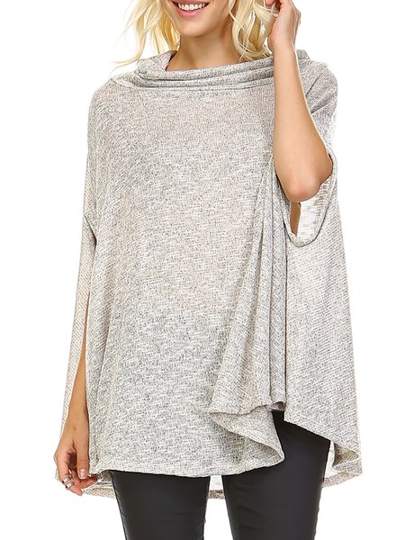Gray Plain Statement Cowl Neck Polyester Tunic