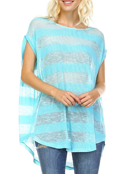 High Low Casual Stripes Crew Neck Tunic