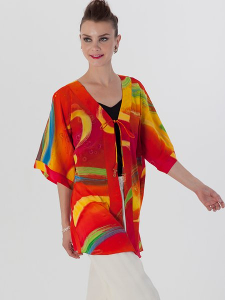 Red Printed Half Sleeve Abstract H-line Kimono