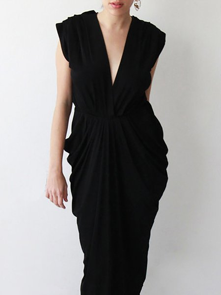 Black Elegant Gathered Sheath Maxi Dress