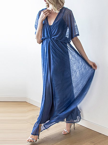 Blue Two Piece Cocktail Plunging Neck Gathered Maxi Dress