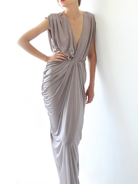 Gray Sheath Gathered Plain Evening Maxi Dress