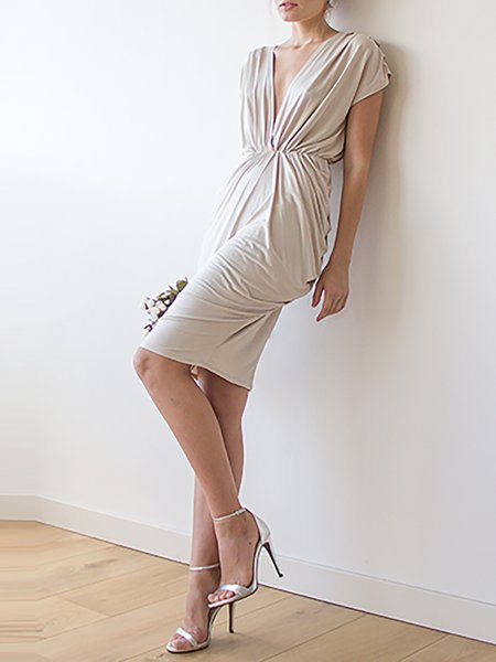 Champagne Plain Plunging Neck Evening Midi Dress