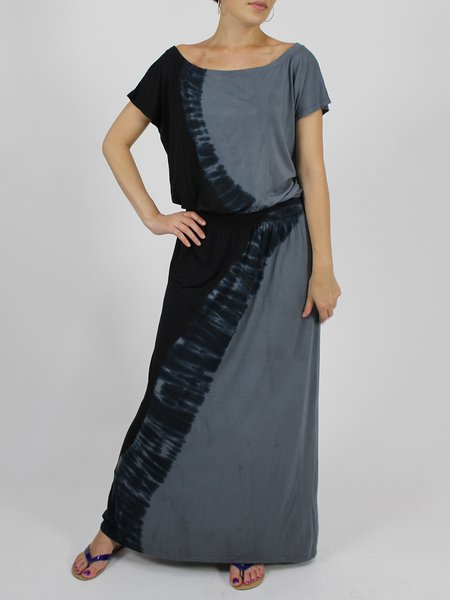 Gray Bateau/boat Neck Casual Color-block Modal Maxi Dress