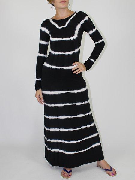 Stripes Casual Crew Neck Long Sleeve Maxi Dress