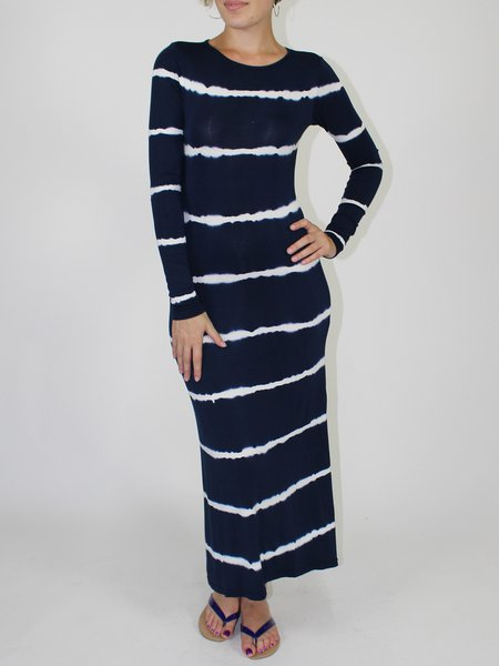 Printed Casual Long Sleeve Stripes Maxi Dress