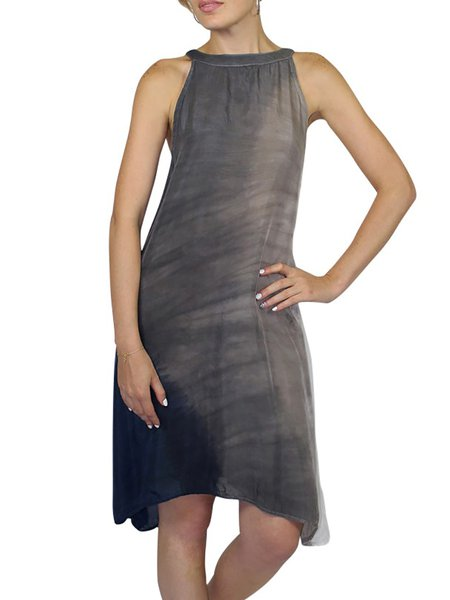 Gray Casual Gradient Crew Neck Midi Dress