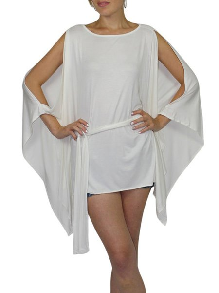 Cream Crew Neck Modal Plain Batwing Tunic