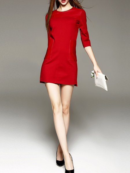 Red Cotton-blend 3/4 Sleeve Paneled Mini Dress