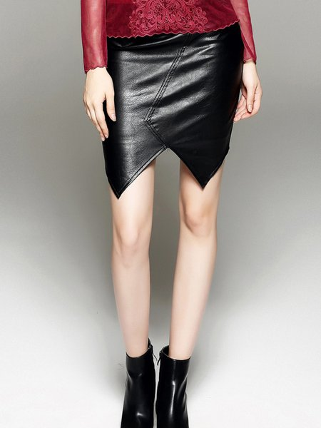 Black Polyester Asymmetric Bodycon Simple Leather Skirt