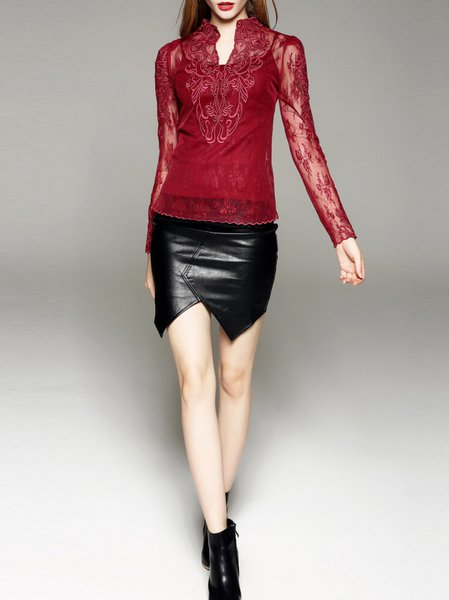 black polyester asymmetric bodycon simple leather skirt