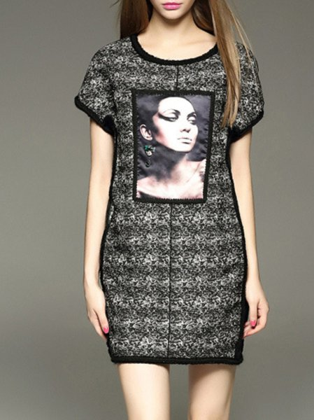 Casual Short Sleeve Polyester Mini Dress