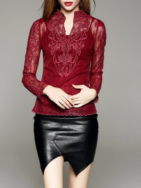 Red Embroidered Long Sleeve Bodycon Lace Long Sleeved Top