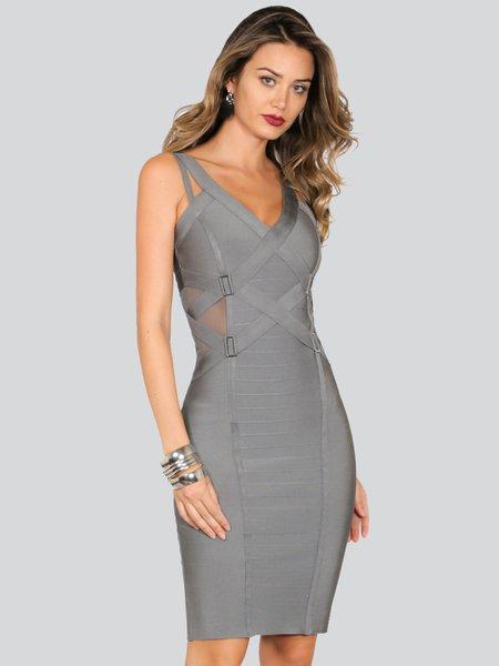 Gray V Neck Spaghetti Bandage Midi Dress
