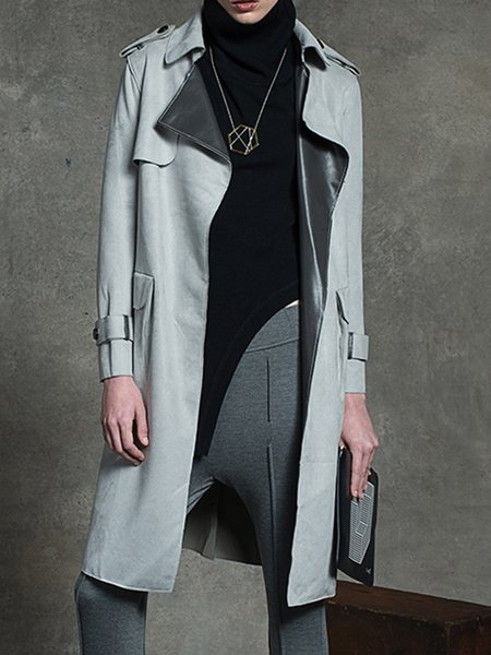 Gray Suede H-line Plain Long Sleeve Trench Coat