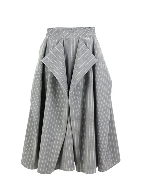 Gray Asymmetrical Simple Stripes Midi Skirt
