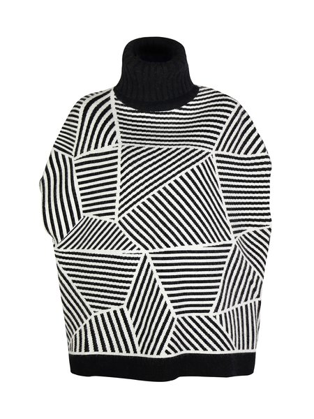 Turtleneck Casual Long Sleeve Geometric Sweater