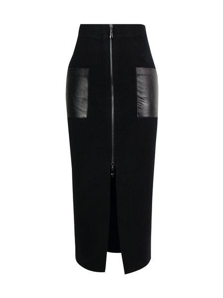 Black H-line Knitted Plain Casual Pencil Skirt