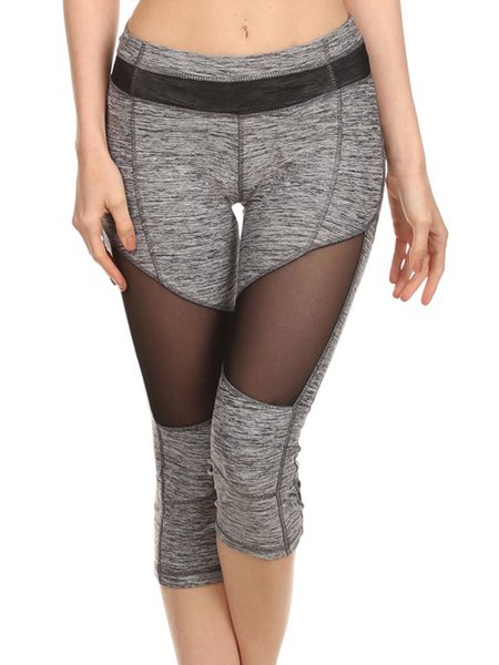 Gray (Breathable) High-rise Stretchy Mesh Bottom (Sportswear for Outdoor)