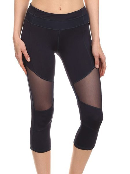Navy Blue High-rise Polyester Stretchy Bottom (Sportswear for Fitness)