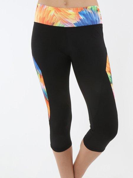 Black Leggings High-rise Stretchy Bottom (Sportswear for Fitness)