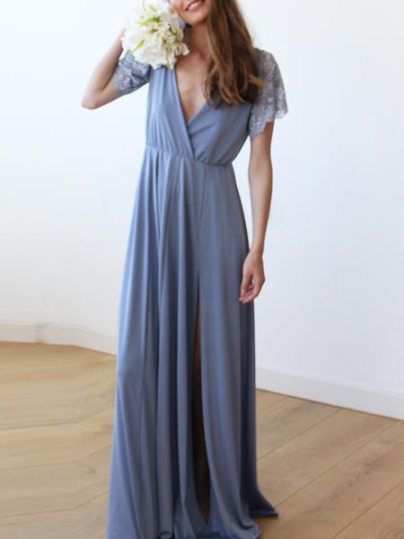 A blue maxi dress