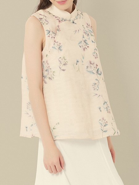 Elegant Organza Floral-print Sleeveless Blouse