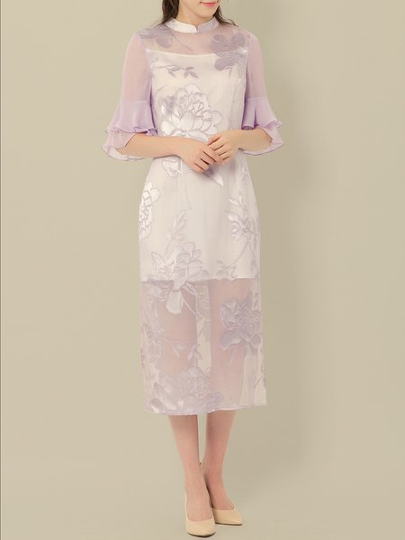 H-line Floral Half Sleeve Silk Vintage Midi Dress