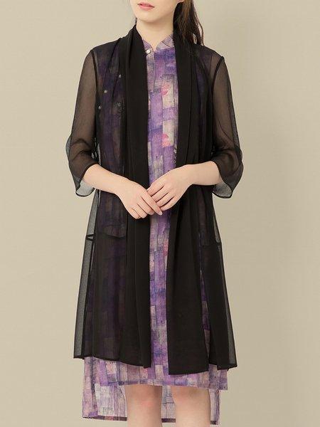 Black Half Sleeve Plain Kimono