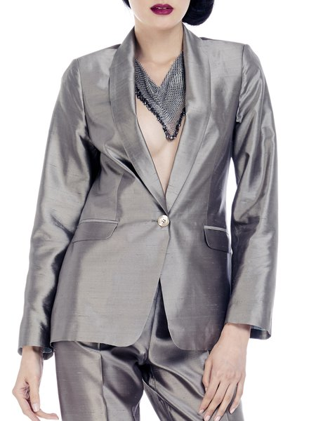 Silver Painted Work Plain Blazer
