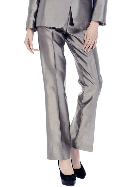 Silver Work Silk Plain Straight Leg Pant