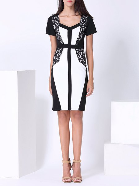 Color-block Elegant Short Sleeve Sheath Midi Dress