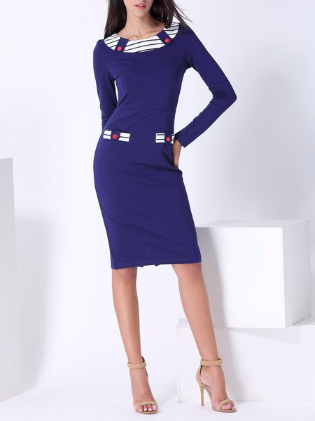 Dark Blue Cotton-blend Sheath Elegant Buttoned Midi Dress