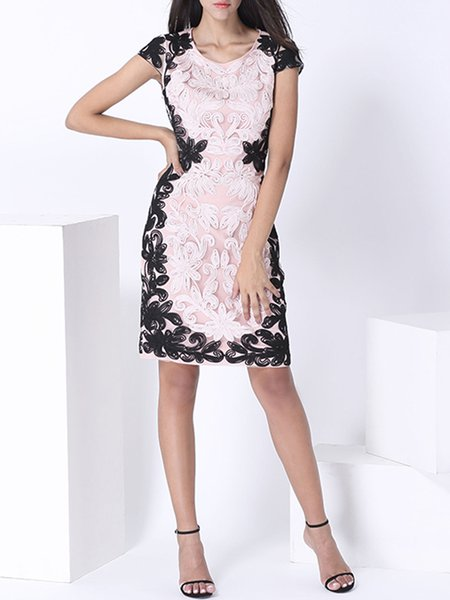Floral Short Sleeve Elegant Crew Neck Guipure Midi Dress