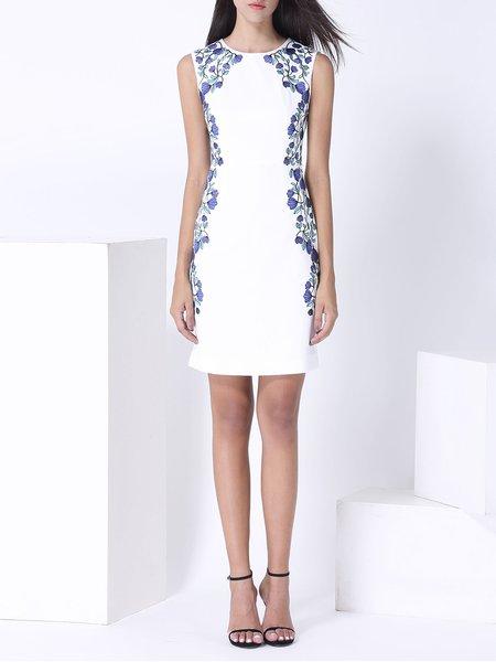White Sleeveless Floral Crew Neck Embroidered Midi Dress