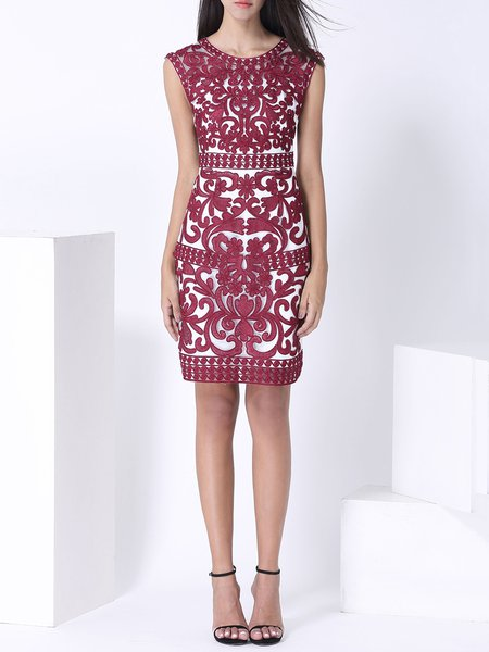 Burgundy Crew Neck Embroidered Polyester Sleeveless Midi Dress